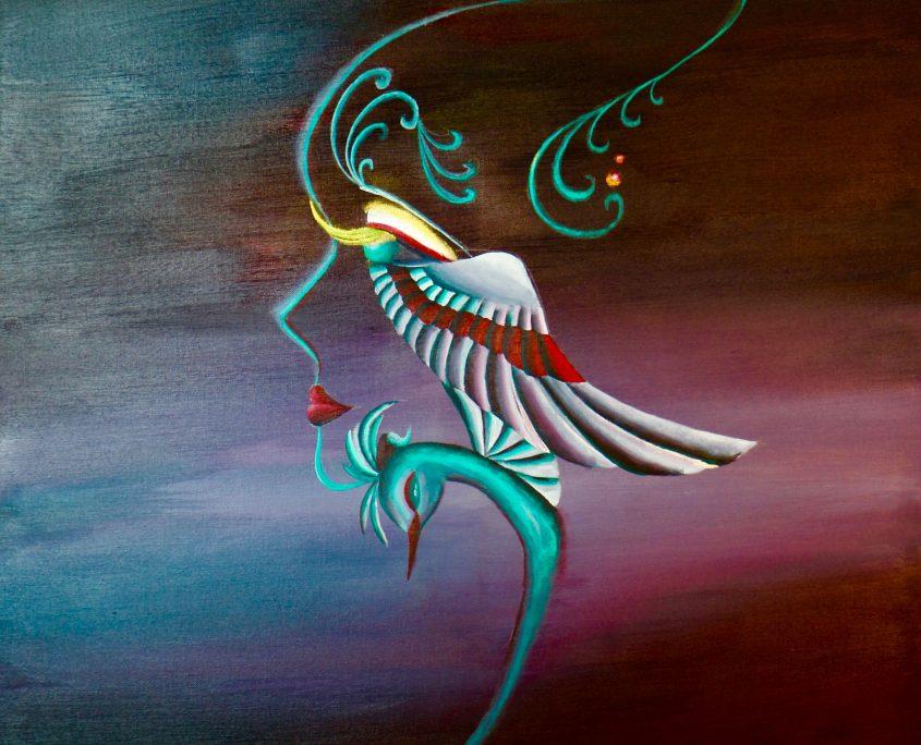 Born to Fly, Victoria Yin, 2009, age 11, acrylic on canvas 30 x 40