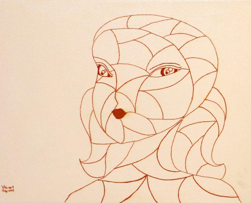 Portrait 1, Victoria Yin, July 2007 age 9, marker on canvas