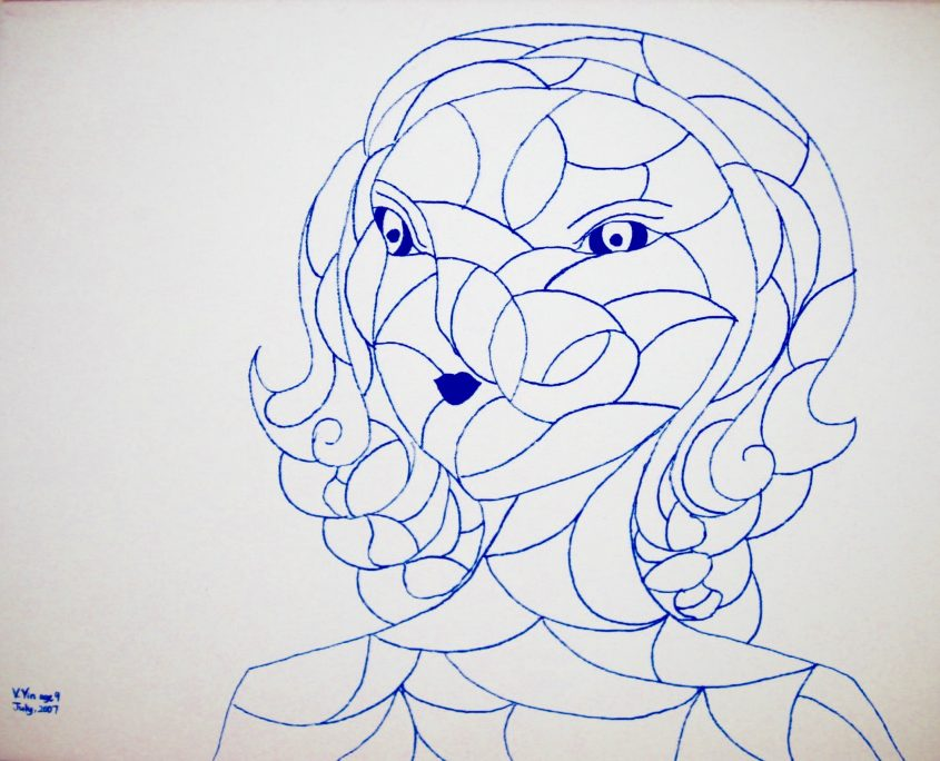 Portrait 2, Victoria Yin, July 2007 age 9, Marker on canvas