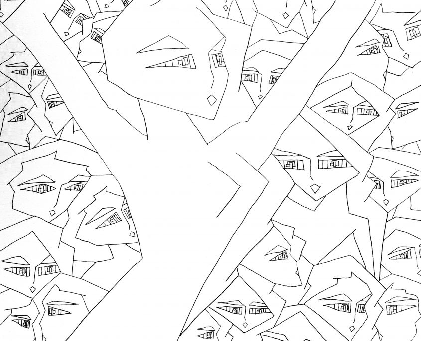 Gene 1-Crowded World, Victoria Yin, July 2008 age 10, marker on canvas 30 x 40