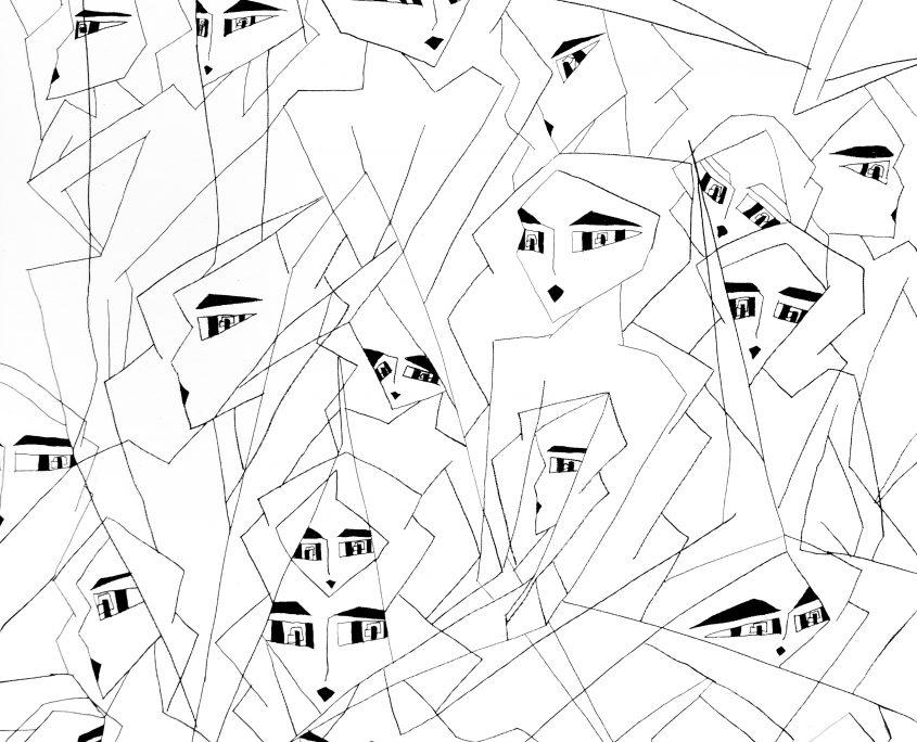 Gene2-Crowded World, Victoria Yin, July 2008 age 10, marker on canvas 30 x 40