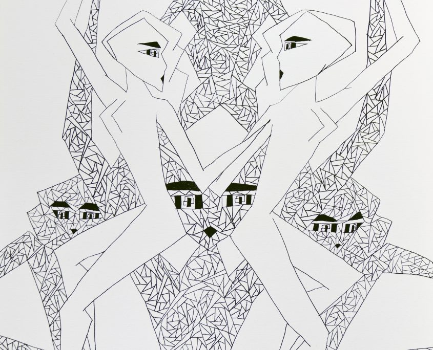 Dots. Lines. Shapes. Humans-II, Victoria Yin, age 10, marker on canvas 30 x 40