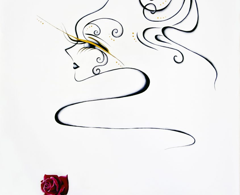 Girl and Rose, Victoria Yin, Jan 2011 age 13, acrylic on canvas 63 x 66