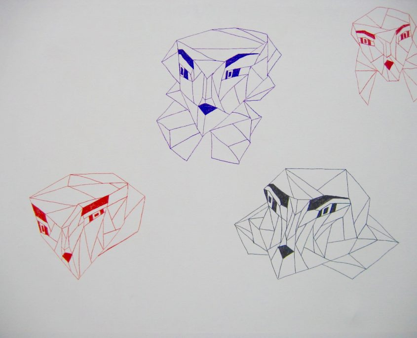 Head 1, Victoria Yin, age 9, marker on canvas