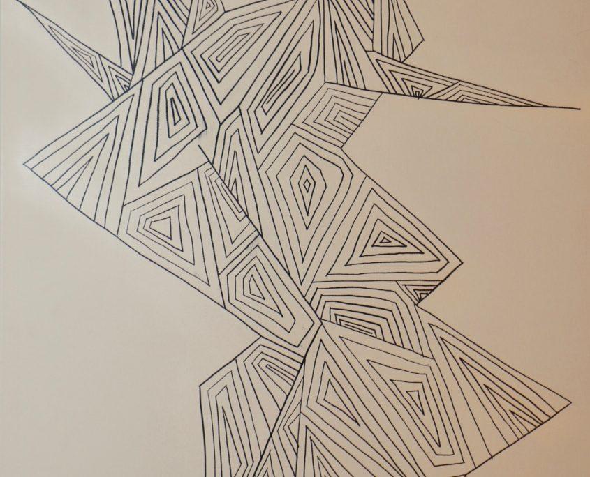 Line. Shape. Human, Victoria Yin, age 10, Marker on canvas 24 x 48