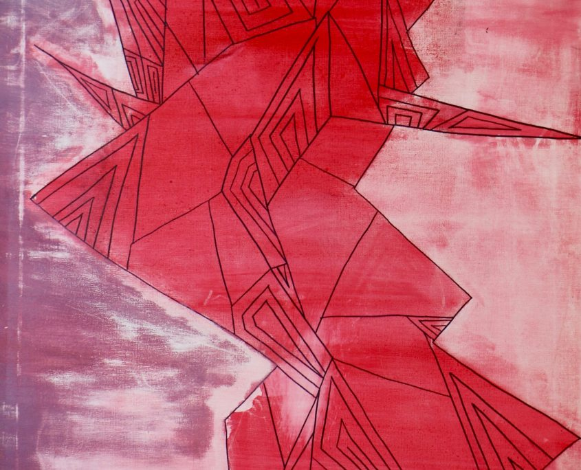 Line. Shape. Human in Red, Victoria Yin, age 10, Marker and painter on canvas 24 x 48