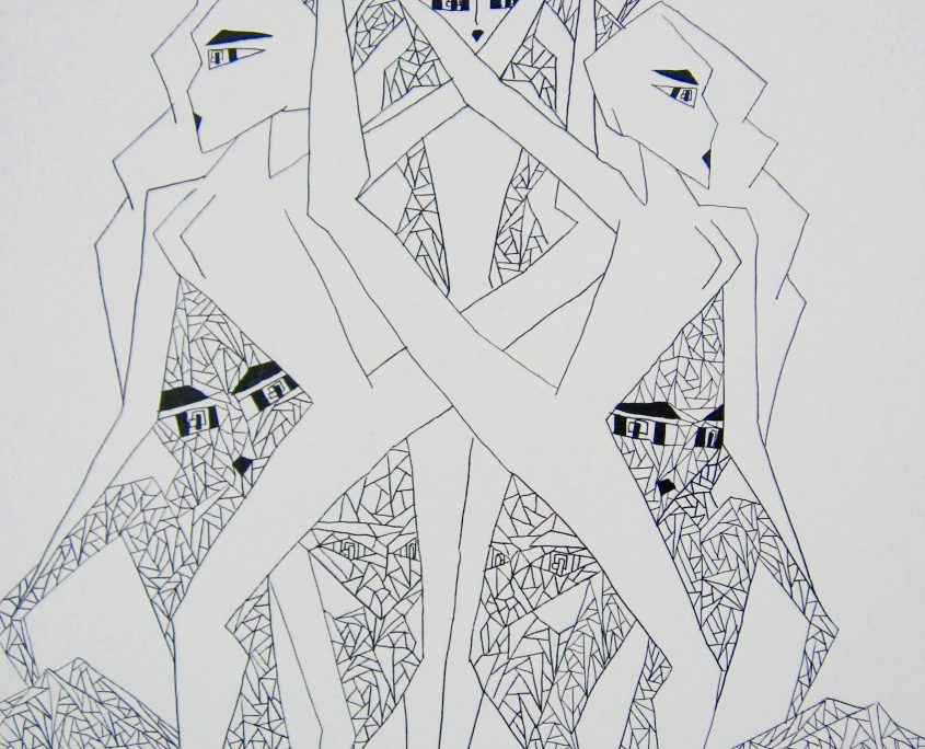 Dots.Lines.Shapes, Victoria Yin, age 11, Marker on canvas 30 x 40