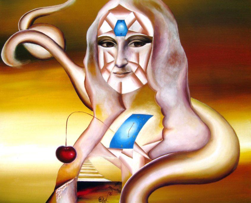 Lust, Myth, Wisdom and Time II (after Leonardo DaVinci's Mona Lisa), Victoria Yin, age 12, acrylic on canvas 30 x 40