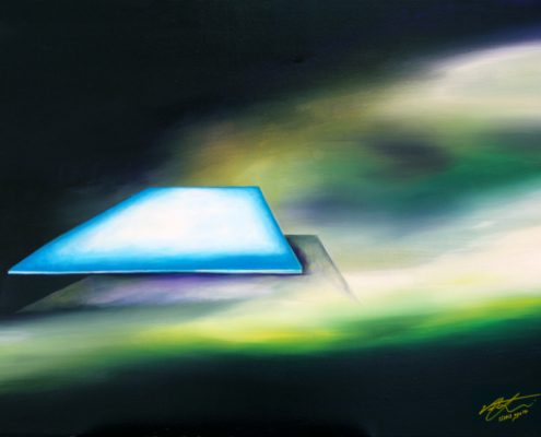 Perception-Once Upon a Time Earth was Flat, Victoria Yin, Feb. 2012 age 14 acrylic on canvas 30 x 40