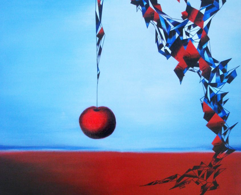 Temptation I-the hanging apple, Victoria Yin, age 11, acrylic on canvas 30 x 40